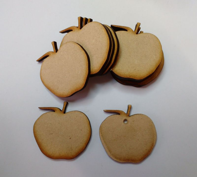 Wooden MDF APPLE Craft shapes, embellishment decoupage  10 PACK 3mm Thick